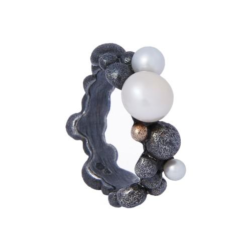 """Sidabrinis žiedas """"Bubble"""" su perlais MW4165"""